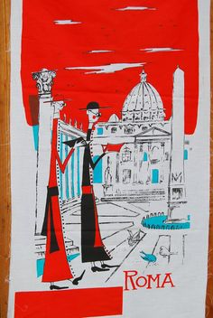 Vintage fabric ROME ITALY TRAVEL poster by vintageinspiration, $25.00