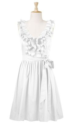 Rehearsal dinner...A triple row of pleated ruffles from the shoulders to the wide V-neck embellishes a sleeveless poplin dress. The shaping is easy, with a sash tied waist and a full, pleated skirt.