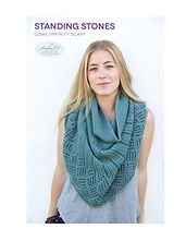 """""""Standing Stones Cowl"""" by Andee Fagan. Pattern is available in my Ravelry store. It is knitted in the round and worn as an infinity scarf draped once around your neck or over your shoulders. It can also be worn as a sleeveless top or a skirt!"""