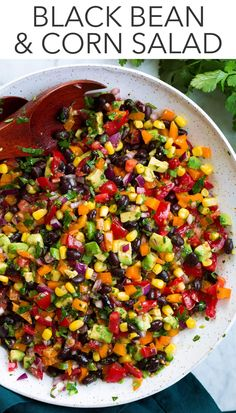 Feb 2020 - Black Bean and Corn Salad - healthy and so delicious! It's a simple salad jam packed nutritious black beans, fresh vegetables like corn, avocado and bell pepper and its all tossed with a vibrant cilantro lime dressing. Corn Salad Recipes, Corn Salads, Easy Salads, Healthy Salad Recipes, Summer Salads, Vegetarian Recipes, Cooking Recipes, Cooking Corn, Dinner Salad Recipes