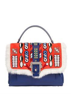 PAULA CADEMARTORI Petite Faye Leather Bag W/ Embroidery, Orange/Blue. #paulacademartori #bags #shoulder bags #hand bags #fur #lining #bag, сумки модные брендовые, bag lovers,bloghandbags.blogspot.com