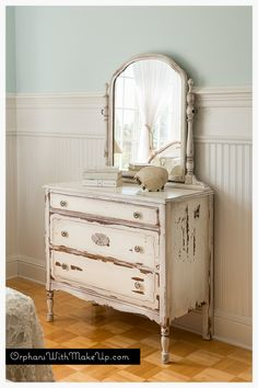 """ORPHANS WITH MAKEUP (Miss Mustard Seed """"Linen"""" Milk Painted Dresser, clear and antiquing wax)"""
