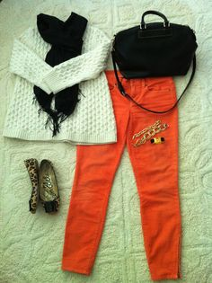 Dont know if I could rock these orange pants anytime soon. sigh....leopard shoes