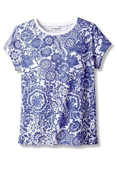Porcelain-Print Tee - Women's Knits | Coldwater Creek
