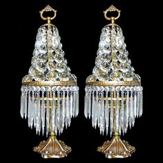 Antique 1920s Pair French Empire Regency Bronze/Crystal Wedding Cake Table Lamps #French
