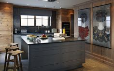 Mild Steel Kitchen Wall - splashback. Luxury Ski Chalet, Chalet Skyfall 004,