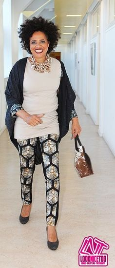 #LadyAfrica African Inspired Fashion & Accessory look: Sand colored tunic, print pants & cape by Irene Heldens