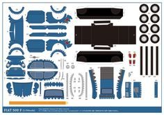 Papercrafts Fiat 500 (x Fiat 500, Paper Model Car, Paper Models, Paper Aircraft, Fiat Cars, Model Train Layouts, Vintage Paper Dolls, Paper Folding, Paper Toys