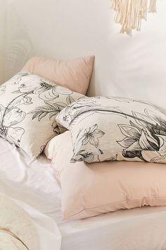 Makenna Etched Floral Jersey Pillowcase Set