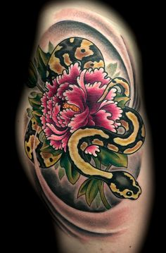 Snake with Flower Tattoo