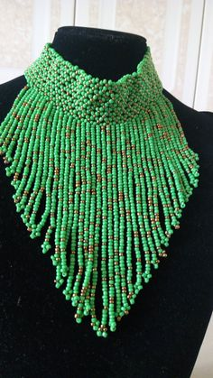 ON SALE African Beaded Choker, African Jewelry, Beaded Fringe Necklace, Tribal Necklace, Boho Neckla Gold Choker Necklace, Fringe Necklace, Tribal Necklace, Coin Necklace, Beaded Choker, Green Necklace, African Necklace, African Beads, African Jewelry