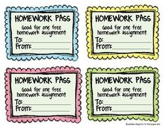 image relating to Free Printable Homework Pass identify 7 Ideal research p illustrations or photos within 2016 Clroom Designs