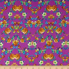 Rayon Challis Floral Orange/Yellow/Fuchsia from @fabricdotcom  This rayon challis fabric has a smooth luxurious hand and soft, liquid drape. Perfect for fuller skirts and dresses, blouses, shirts, scarves and tunics. Colors include burnt orange, yellow, green, and blue on a vibrant purple background.
