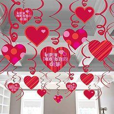 Valentines Decorations Hanging Heart Swirls - Pack of 46 Heart Decorations, Valentines Day Decorations, Mylar Balloons, Latex Balloons, 1st Boy Birthday, Happy Birthday Banners, Happy Hearts Day, Boy Decor, Hanging Hearts