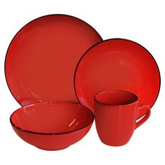 16-piece earthenware dinnerware set in red with black trim. Product 4 Dinner  sc 1 st  Pinterest & Mainstays 16-Piece Stoneware Dinnerware Set Assorted Colors ...