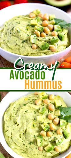 Creamy Avocado Hummus - This easy to make homemade Avocado Hummus is creamy, smooth and so tasty! This delicious hummus rec - Avocado Hummus, Easy Appetizer Recipes, Healthy Appetizers, Dinner Recipes, Healthy Dips, Healthy Recipes, Easy Avocado Recipes, Vegetarian Recipes, Delicious Hummus Recipe