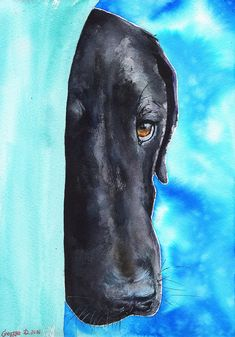 Black Labrador Retriever Print of the Original Painting Dog Labrador puppy Funny Cute Nice Sweet Watercolor