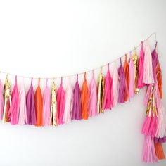 Pink orange and gold tissue paper Tassel Garland - Party Decorations /birthday / nursery decor / moroccan party / fully assembled / backdrop Tissue Paper Tassel, Paper Pom Poms, Tulle Poms, Paper Garlands, Tulle Tutu, Bachelorette Party Decorations, Birthday Party Decorations, 30th Party, Birthday Parties