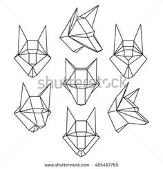 Set of geometric polygonal wolf trophy head isolated on white background. Crystal design element illustration for your design. Raster copy of vector file.