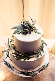 Rustic White Wedding Cake with Lavender and Eucalyptus | Brides.com