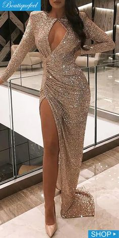 Sequins Cut Out Chest High Slit Ruched Dress - Women's style: Patterns of sustainability Pretty Prom Dresses, Sexy Dresses, Beautiful Dresses, Cute Dresses, Casual Dresses, Romantic Dresses, Fashion Dresses, 1950s Dresses, Summer Dresses