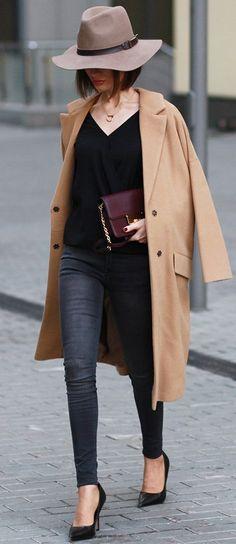 Sonya Karamazova Camel Coat On Shades Of Black Fall Street Style Inspo
