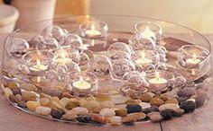 Centros de mesa originales. Velas, piedras y agua. Fácil de hacer!