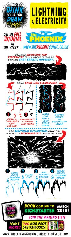This week's tutorial for The Phoenix  is How to THINK when you draw  LIGHTNING and ELECTRICITY ,  here's a taster!   Tutorials BOOK  coming ...