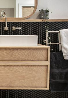 Interior Design Kitchen Wooden bench, statement times and wooden shelf running the length of the wall - Bathroom Layout, Modern Bathroom Design, Bathroom Interior Design, Kitchen Interior, Bathroom Ideas, Bathroom Organization, Budget Bathroom, Bath Ideas, Interior Paint