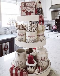 Easy DIY Indoor Christmas Decor and Display Ideas, Ways To Decorate Your Tiered Tray For Christmas, Kitchen Counters, or Fireplace Mantle Decorating, Christmas Decor Farmhouse Christmas Decor, Rustic Christmas, Noel Christmas, White Christmas, Christmas Snacks, Christmas Scenes, Simple Christmas, Christmas Projects, Christmas Ornaments