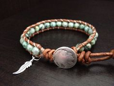 Turquoise Leather Wrap Bracelet with sterling silver feather charm Native American inspired jewelry Single Wrap
