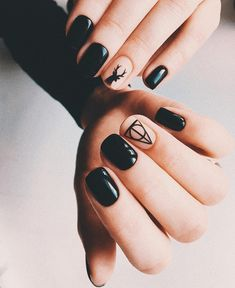 Creating the ideal nail cutting and nail art style isn't just about color or pattern. Classy Nails, Stylish Nails, Cute Nails, Purple Acrylic Nails, Summer Acrylic Nails, Black Nail Designs, Nail Art Designs, Harry Potter Nails Designs, Mens Nails