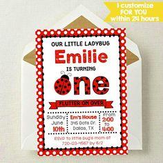 Ladybug Invitation / Our Little Bug Invitation / $7 / NothingPanda on Etsy