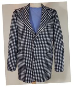 1970s DONEGAL Vintage Mens Sport Coat / Outstanding Navy and White Gingham Check Double Knit / Wide Lapels  $52.