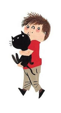Fiep Westendorp Reminds me of Lukas and Princess Sparkles! Children's Book Illustration, Character Illustration, Crazy Cat Lady, Black Cat Art, Black Cats, Cat Drawing, Schmidt, Drawings, Cartoons