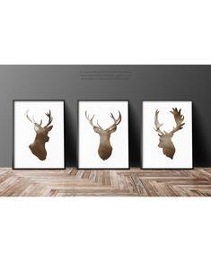 Deer Head Silhouette set of 3 Brown Antlers от ColorWatercolor