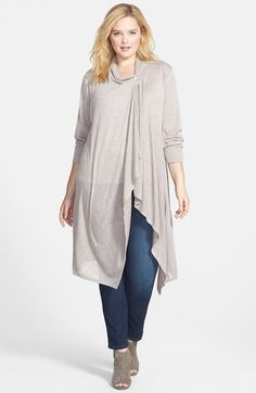 Bobeau One-Button Long Wrap Cardigan (Plus Size) Plus Zise, Mode Plus, Curvy Outfits, Plus Size Outfits, Curvy Fashion, Girl Fashion, Plus Size Fashionista, Lil Black Dress, Wrap Cardigan