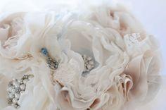 Fabric Flower Custom Wedding Bouquet with rhinestone by Cultivar, $100.00