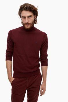 Cotton And Cashmere Turtleneck Sweater - Winter Garnet   Adolfo Dominguez shop online