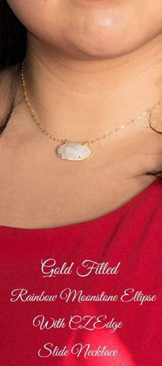 #gold filled rainbow #moonstone ellipse with CZ edge slide #necklace  #finejewelry #jewelry