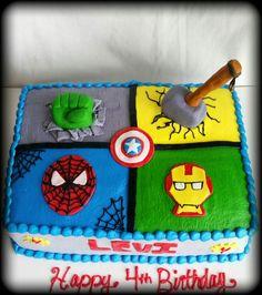 Marvel Avengers 1/2 sheet 4th birthday cake.