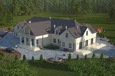 Projekt budynku gastronomicznego z zapleczem noclegowym, mogący pełnić funkcje domu weselnego, motelu, pensjonatu K-36, parterowy z poddaszem użytkowym bez podpiwniczenia i bez garażu.