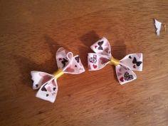 Little ribbon hair clips.