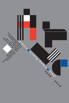 """womenofgraphicdesign: """" Rosmarie Tissi (Zurich, Switzerland) · Interview Poster for Albers, Lustig, Cohen, 1958-2018 exhibition, 2018 """"Pratt Manhattan Gallery presents Albers, Lustig Cohen, Tissi, 1958-2018, an exhibition that explores sixty years of..."""