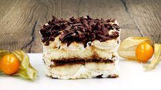Bananen-Tiramisu ist eine leckere Abwandlung des italienischen Dessert-Klassikers. Banane und Bananenlikör, eine Creme aus Mascarpone und süßer Löffelbiskuit sorgen für Suchtpotenzial. Party Buffet, No Bake Treats, Food Design, No Bake Cake, Coco, Baking Recipes, Sweet Treats, Cheesecake, Food And Drink