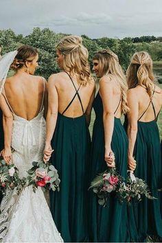 Backless Bridesmaid Dress, Wedding Bridesmaid Dresses, Forest Green Bridesmaid Dresses, Green Bridesmaids, 3 Bridesmaids Pictures, Green Dresses For Wedding, Wedding Ideas Green, Bridemaids Flowers, Bridesmaid Colours