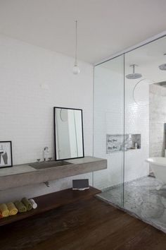 Having the tub & shower in the same area is cool!