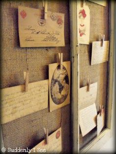 My recent love for burlap and for old window frames. I want to make this.