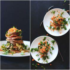 Thai Sweet Potato Stacks with Peanut Sauce