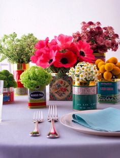 Who wouldn't want to eat at this table? So colorful!